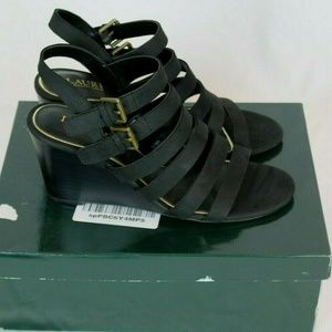 Ralph Lauren Aleigh Nubuck Black Wedge Sandals